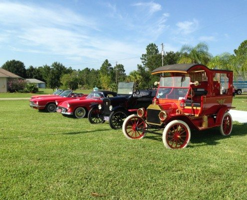 Old Fashioned Ford Cars Lined On Line
