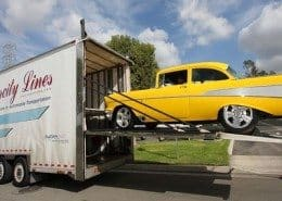 classic car being loaded